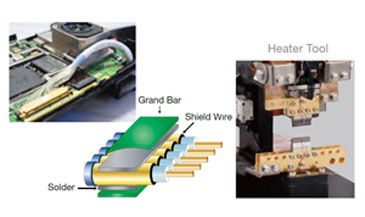 Coaxial cable grand bar to wiring reflowsoldering
